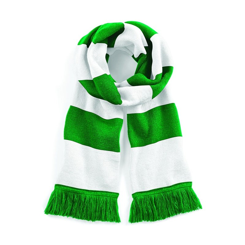 Classic Bar Scarf heavy guage in Green and White